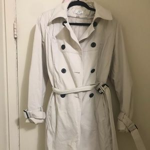 Cream colored Ann Taylor LOFT Trench Coat